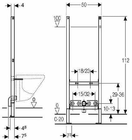 Geberit Duofix Basic Stelaz Podtynkowy Do Bidetu H112 111 534 00 1